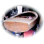 wooden sailing dinghy