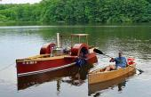 Steam driven sidewheeler, plus 55% size canoe built on the same lines. Walking Beam engine, Delaware River Cruise