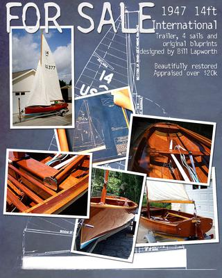 1947 International 14 class mahogany sailboat.