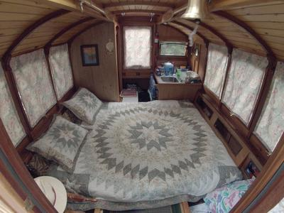 Has a queen bed or bunks to sleep 2-4.