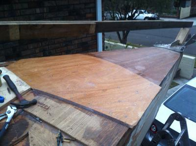 Foredeck three layers of marine ply laid diagonally