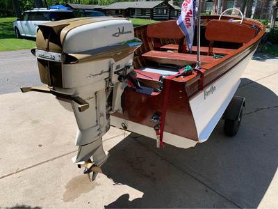 Newly restored classic 1956 Penn Yan 16' with a 35 hp 1958 Johnson Super Sea Horse RDS-20.