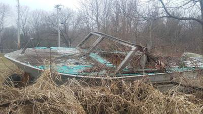 1965 Cruiser Wood boat project film prop desolate world parts setting Vintage Old Trailer. for sale