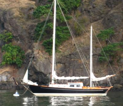 Lymaka at anchor in San Juan Islands